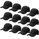 12-Pack Bulk Sale Plain Velcro Baseball Cap Adjustable Size Solid Color G012-01-Black