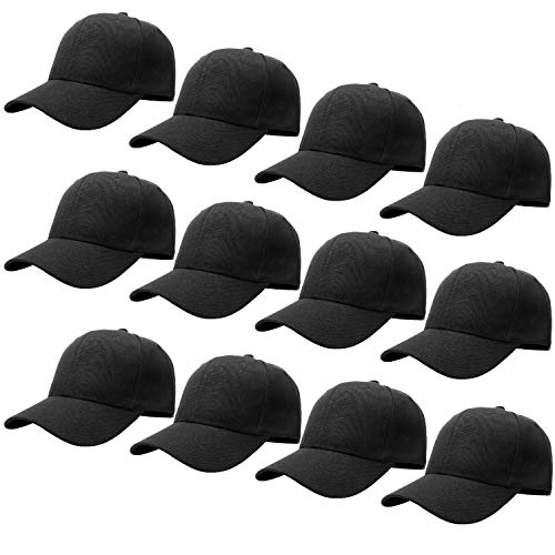 12-Pack Bulk Sale Plain Baseball Cap Adjustable Size Solid Color G012-01-Black