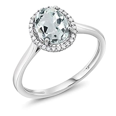10K White Gold Sky Blue Aquamarine & Diamond Halo Women's Engagement Ring 1.10 cttw (Available 5,6,7,8,9)