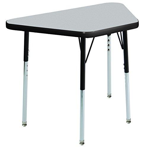 ECR4Kids T-Mold 18'' x 30'' Trapezoid Activity School Table, Standard Legs w/ Swivel Glides, Adjustable Height 19-30 inch (Grey/Black) by ECR4Kids
