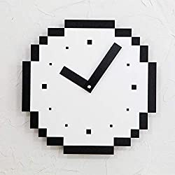 xushihanjjli Wall Clocks Pixels Kids Simple Modern Design Wooden American Minimalist Small Art Home Decor Silent 11 Inch Silent Sports Living Room Bedroom Office Hotel Decoration Creative Gift