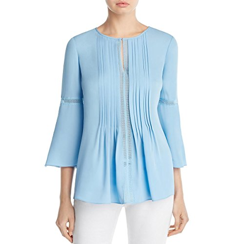 fc7538371f3c8 Elie Tahari Womens Orion Silk Pleated Tunic Top Blue S
