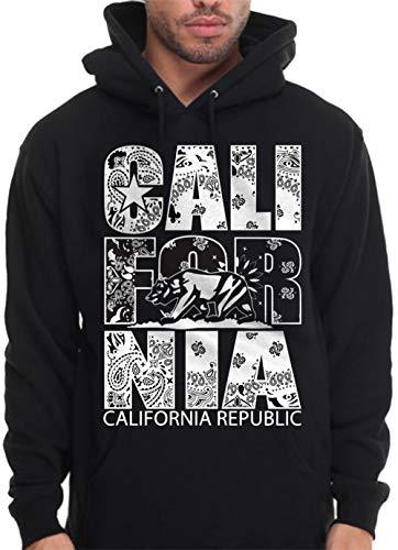 Nor Cal Bay - White Bandana Hoodie Hooded Sweatshirt Cali Paisley Nor Cal Bay LA - 3X - XXXL - 3XL