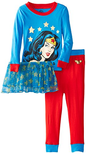 Wonder Woman Girls 2-6X Toddler Wonder Woman Tutu Pajama Set, Multi, 4T