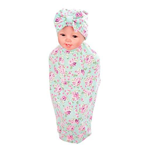 Ufraky Newborn Cotton Bath Towel Swaddle Blankets Floral Print Baby Receiving Blanket Headband (Green)