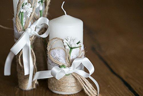 Rustikale Hochzeit Kerzen 3er Set Sackleinen und Spitze modern und elegant ein wesentliches Detail der Hochzeit