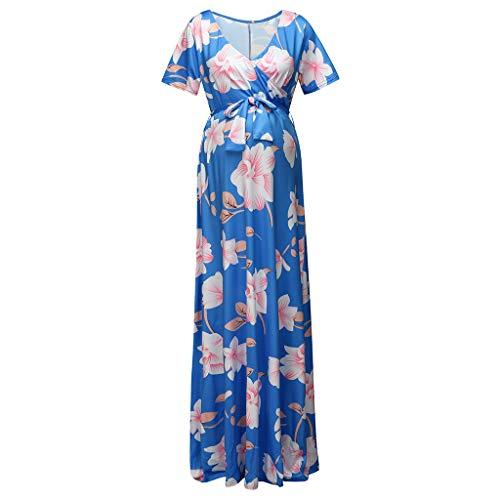 Short Sleeve Maternity Dress, Women Pregnant Maternity Breastfeeding Sexy Floral Short Sleeve Dress|Boho Maternity Dress Light Blue