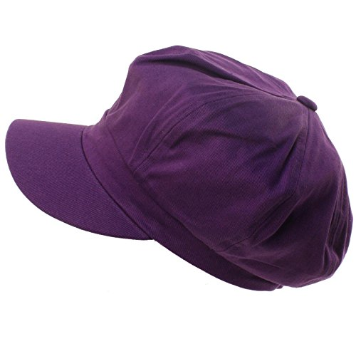 Summer 100% Cotton Plain Blank 8 Panel Newsboy Gatsby Apple Cabbie Cap Hat Purple ()