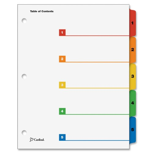 Cardinal OneStep Index System, 5-Tab, Numbered, Multi-Color, 1 Set (60518)