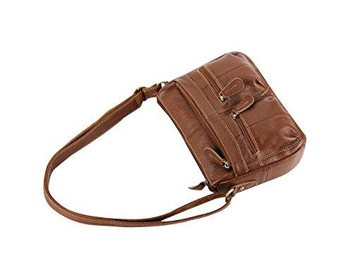 Double Pocket Handbag Bag Multi Hot Leather Brown Use Purse Sale Zipper Shoulder Satchel Women's ILISHOP Crossbody Casual Vintage FxHvvYw