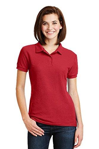 Sleeve Shirt Pique Sport (Gildan womens DryBlend 6.3 oz. Double Pique Sport Shirt(G728L)-RED-2XL)