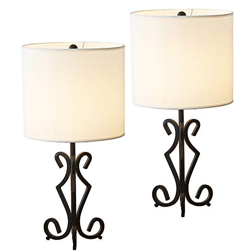 POPILION Vintage Hollowed Out Base Chic Modelling Metal Basic Livingroom Bedroom Bedside Table Lamp,Great Workmanship with White Fabric Shade(Set of 2)