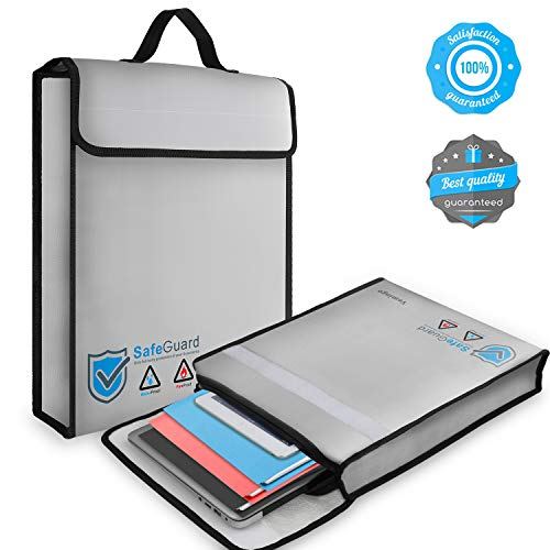 Fire Safe Bags - Vemingo Fireproof Bag 2000 Degree Water Resistant Document Holder 15.8 x 12.6 x 3 Inches Non-Itchy Silicone Coated Fireproof Safe Storage for Money, Documents, Jewelry, Passport and Laptop