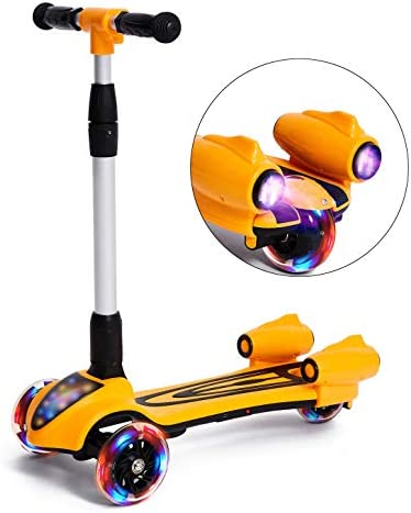 MammyGol Scooters for Kids 3 Wheel Kick Scooter,Folding LED Spray Jet Scooter with Adjustable Height,Flashing PU Wheels and Lean to Steer,Best Gifts for Children Age 3-8 Years Old