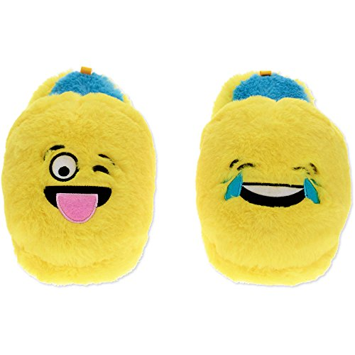 2 Pair Cute Emoji Kid Plush Indoor Slippers - Purple Devil Cute Slipper + Sunglasses Slipper (Small) YPCIhxej