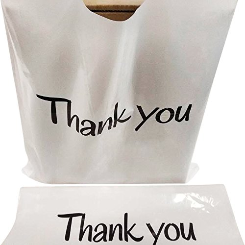 (100 Thank You Merchandise Bags 12x15 White, Die Cut Handles, Glossy, 2.36 Mil Extra Thick LDPE | Strong, Durable, and Tear Resistant Bags | Recyclable, Water-Proof Poly Bag )