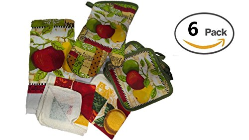 Kitchen Decor - Towel Linen Set of 6 Pieces Fruit Themed Design - Kitchen Towel 2 Potholders 2 Scrubber Dishcloths 1 Oven Mitt - Linen Apple Pear Set - Oven Mitts by TopNotch Outlet