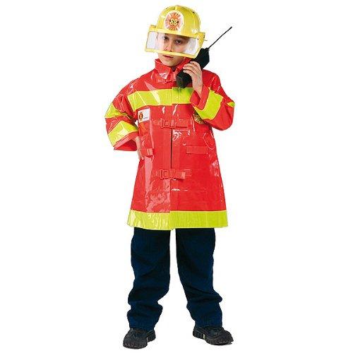 Costume pompiere bambino taglia unica circa 5 7 anni con casco e accetta