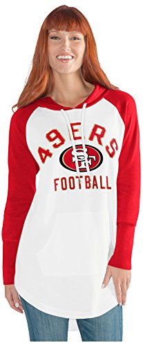 GIII For Her NFL San Francisco 49Ers Adult Women All Division Tunic Hoodie, Medium, White/Red - San Francisco 49ers Nfl Football