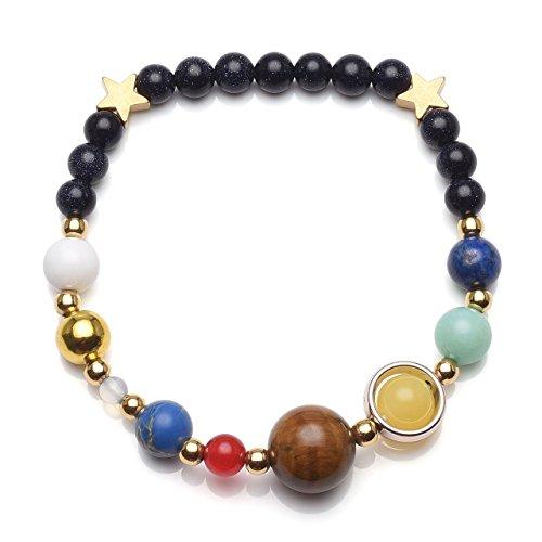 Lapis Star Bracelet (QGEM Unisex Handmade Natural Reiki Healing Gemstone Beads Solar System Bracelet Universe Galaxy The Nine Planets Guardian Star Bracelets Bangles(Blue Sandstone))