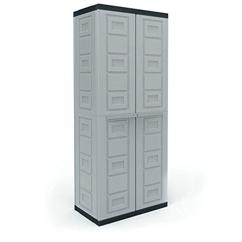 Contico 4 Shelf Plastic Garage Base Utility Cabinet, Gray