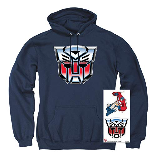 Transformers Autobot Airbrush Logo Pullover Hoodie & Stickers (Large) Navy