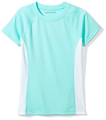 Price comparison product image Amazon Essentials Girls' Swim Tee, Aqua/White, XS (4-5)