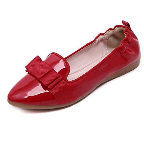 Cuxialilin Womens Soft Material Pointed Closed Toe Pull-On Flats-Shoes with Bowknot Red