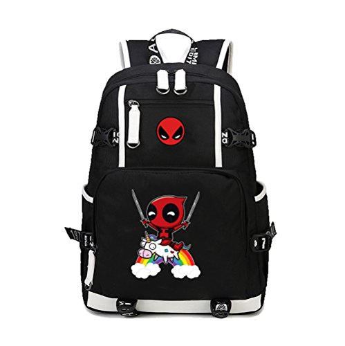 YOURNELO Boy's Funny Deadpool Rucksack School Backpack Bookbag (1) -