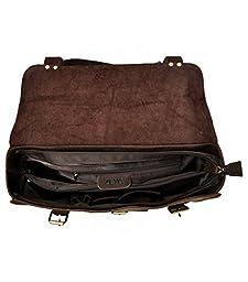 ZLYC Men Convertible Leather Briefcase Backpack Vintage 15.6 Inch Laptop Messenger Bag Handmade Shoulder Bag, Dark Brown