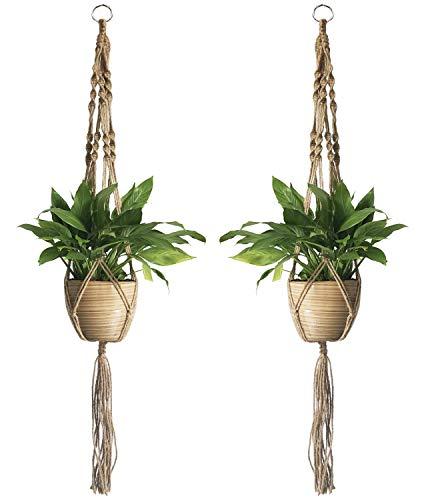 2PCS Macrame Plant Hanger Indoor Outdoor Hanging Planter Basket Cotton Rope 4 Legs 39 Inch