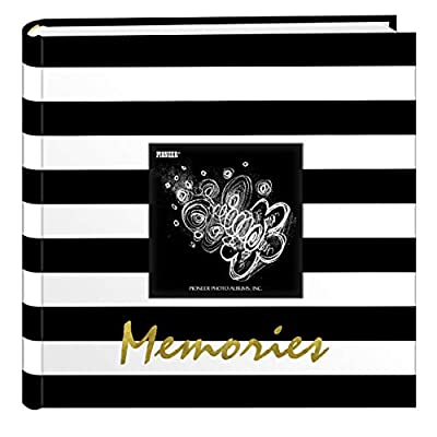 Pioneer Photo Albums EV-246/M Golden Memories Black and White Striped 200 pkt 4x6 Photo Album, Pocket, Gold