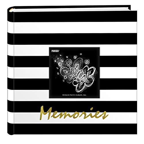 Pioneer Photo Albums EV-246/M Golden Memories Black and White Striped 200 pkt 4x6 Photo Album, Pocket, Gold