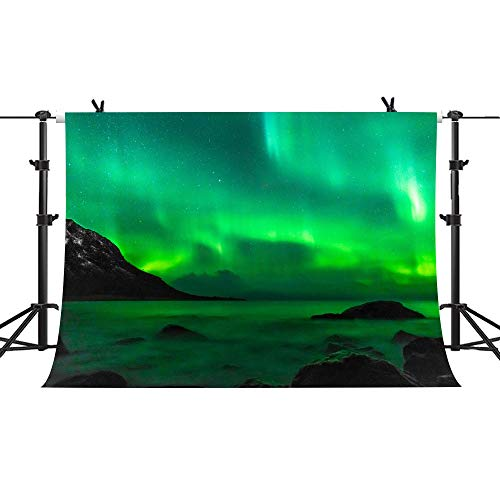 Dreamlike Aurora Backdrop Northern Lights Islands Photography Background Vinyl YouTube Facebook Portrait Photography Backdrops Art Studio Props 7x5ft PHMOJEN PH195