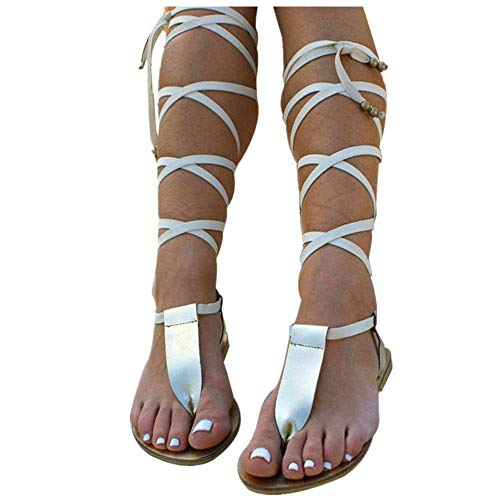 (Women Gladiator Sandals Flat,Summer Strappy Lace Up Open Toe Knee High Flat Sandal Silver)
