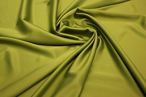 Silk Touch Satin Fabric, Imitation Silk Satin Charmeuse 2way Stretch, Very Soft (Olive Green)