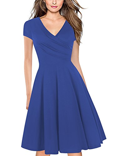 oxiuly Women's Criss-Cross Necklines V-Neck Cap Sleeve Floral Casual Work Stretch Swing Summer Dress OX233 (L, Blue Solid)
