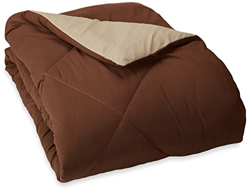 AmazonBasics Reversible Microfiber Comforter Blanket - Twin or Twin XL, Chocolate