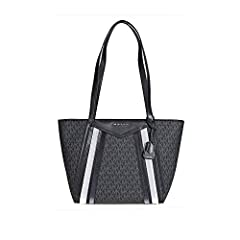 "A Michael Kors tote from the Whitney collection crafted in signature logo print canvas with silver tone hardware. This Michael Kors tote features 1 main compartment, 2 slip pockets, 4 front slip pockets, and 2 leather handles with an 11.5"" dr..."