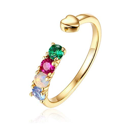 MXMYFZ Women's Ring 925 Sterling Silver Plated 9K Gold Opal Opening Ring 4 Gemstone Inlay Fashion Rings - Suitable for Anniversary Wedding Rings - Multi Gemstone Inlay Ring