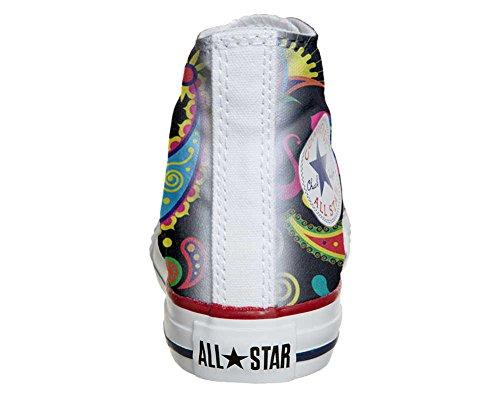 Converse All Star Hi Personnalisé et Imprimés chaussures coutume, Sneaker Unisex (produit Italien artisanal) Fluo Pasley