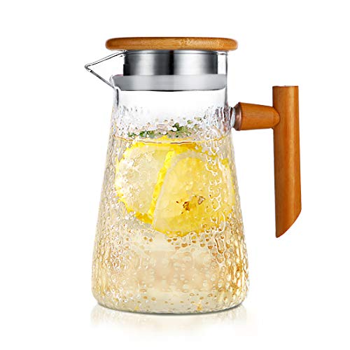 (Glass Pitcher with Bamboo Lid, ONEISALL Hot/Cold Water Pitcher with Handle, 32oz Juice and Iced Tea Beverage Carafe, Stovetop Safe)