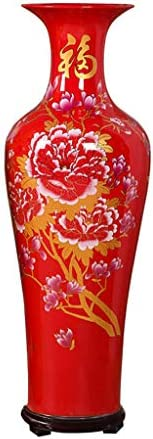 GXFC Chinese Ceramic Vase with Base, Classic Porcelain Decoration, Large Home, Office or Hotel Decor, Jingdezhen, China