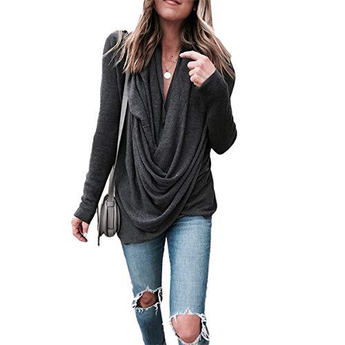 shirts Irregular T Color Pile Long Pure Sleeves Collar Mujeres Grey Shirts Loose Deep vvaqxf4O