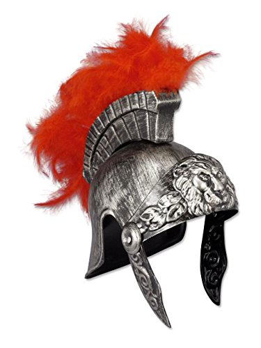 Silver Plastic Roman Helmet with Red Feathers - Ancient Rome Fancy Dress Costumes