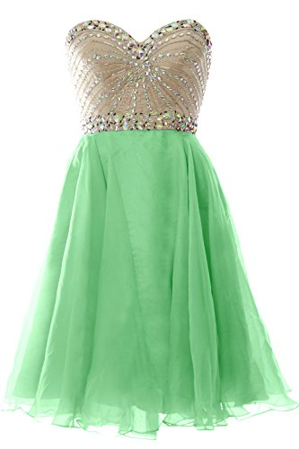 MACloth 2016 Women Strapless Chiffon Short Prom Dress Wedding Party Formal Gown Menta