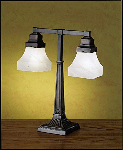 Meyda Tiffany 27625 Bungalow Alabaster Swirl 2 Arm Desk Lamp, 20