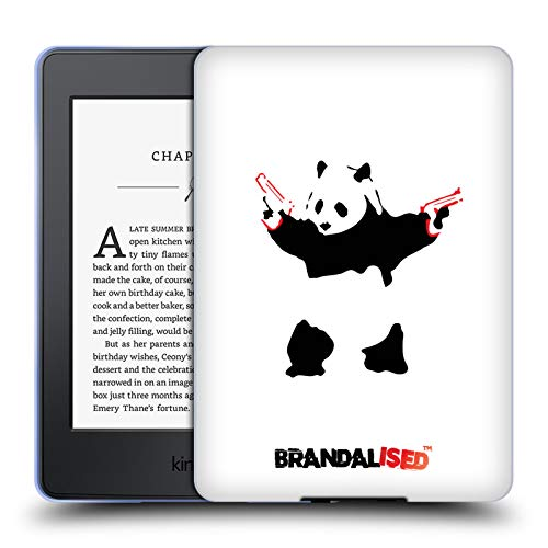 Official Brandalised Panda Guns Banksy Red and Black Street Art Soft Gel Case Compatible for Kindle Paperwhite 1/2 / 3 (Banksy Kindle Case)