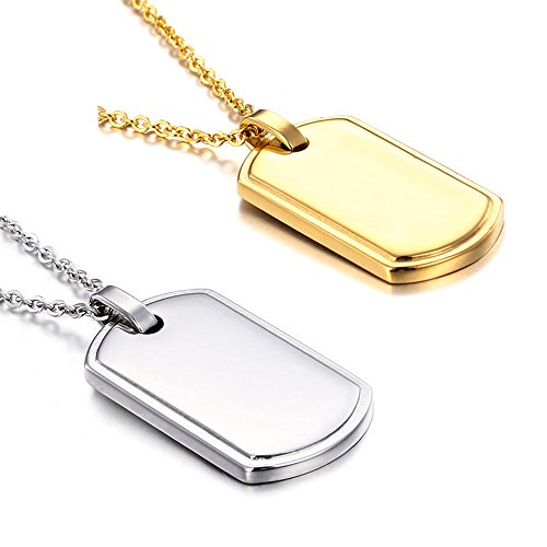 Stainless Steel Dog Tag Personalized Necklace for Couples Gift 2Pas (Free Engraving)