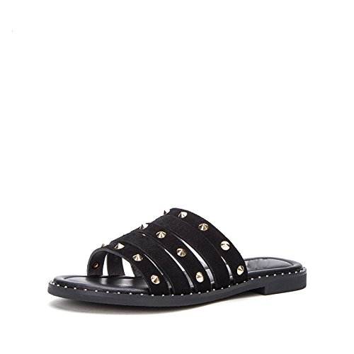 basso moda unita con tacco Nero tinta pantofole sandali da 38 DHG e donna Sandali estivi alla wnRgv
